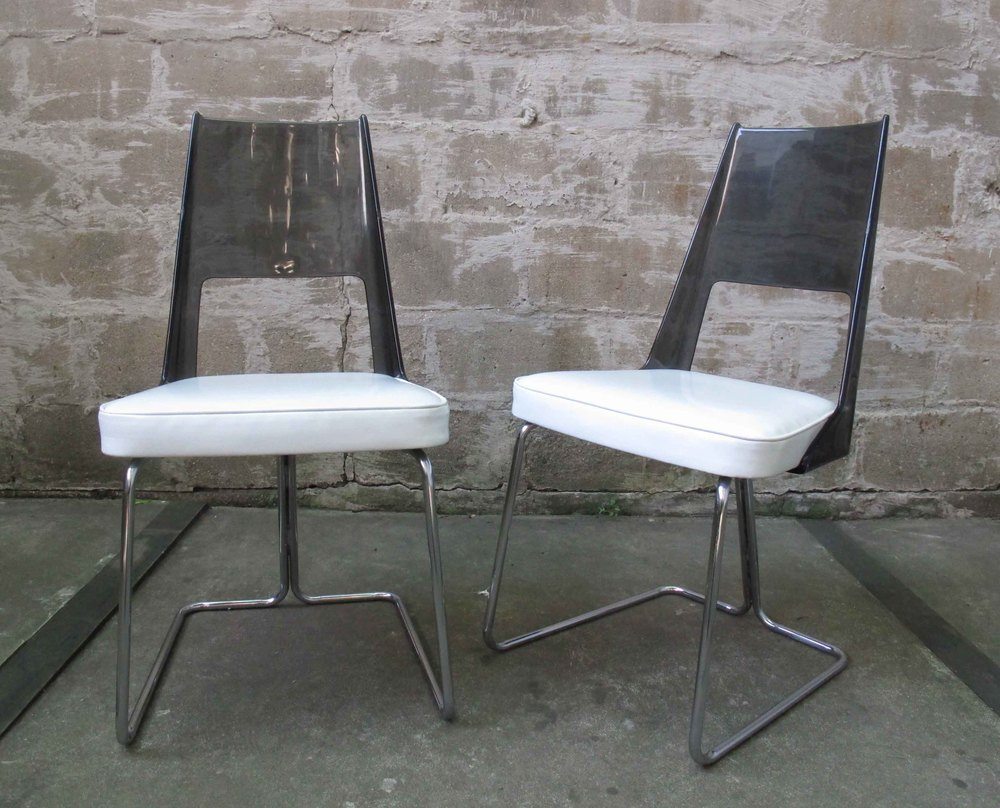 PAIR OF MID CENTURY SMOKED LUCITE & CHROME SIDE CHAIRS