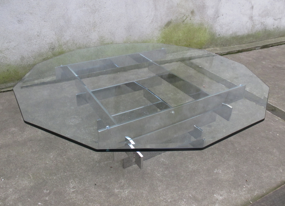 MID CENTURY CHROME AND GLASS COFFEE TABLE BY PAUL MAYEN FOR HABITAT