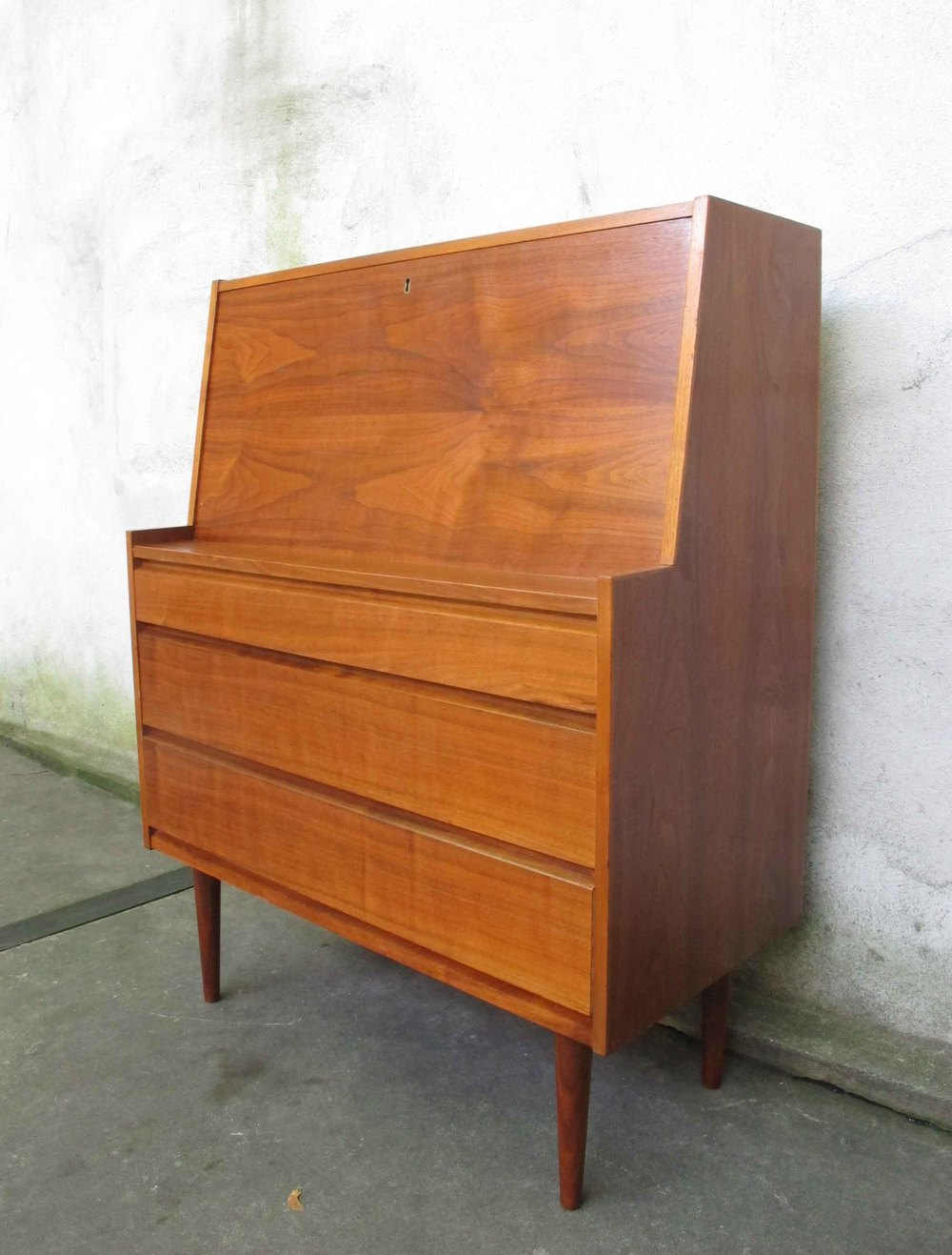 DANISH MODERN TEAK DROP DOWN SECRETARY DESK