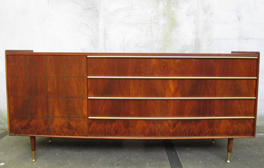 MID CENTURY WALNUT & BRASS LONG DRESSER BY EDMOND SPENCE