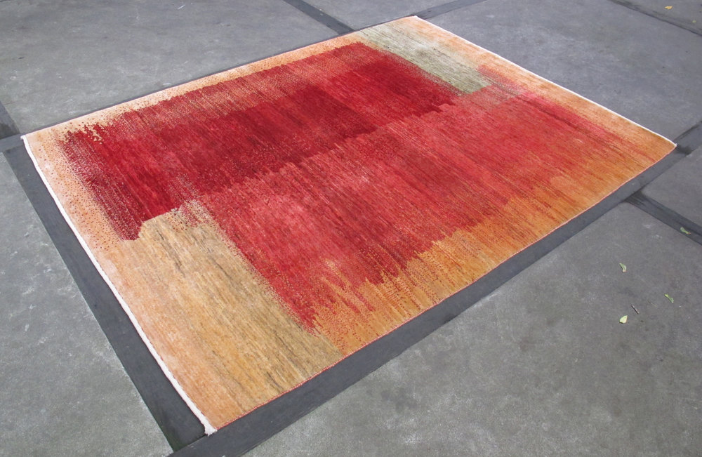 MID CENTURY MODERN ABSTRACT HAND DYED WOOL RUG BY ROBINSON