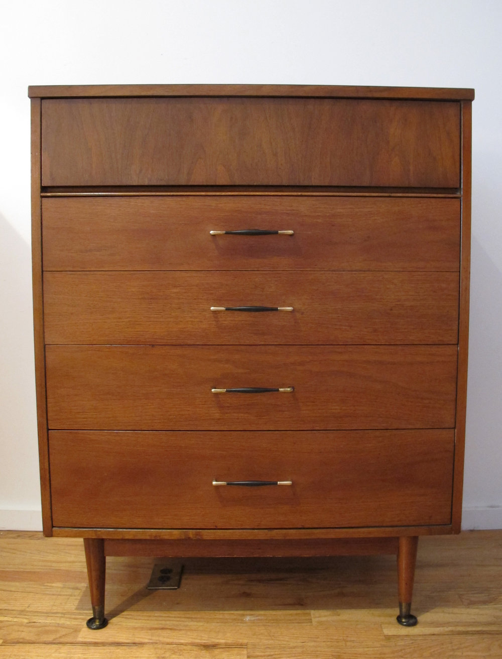 MID CENTURY MODERN FOUR DRAWER TALL DRESSER