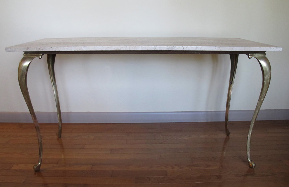 MID CENTURY ITALIAN TRAVERTINE MARBLE TOP CONSOLE TABLE