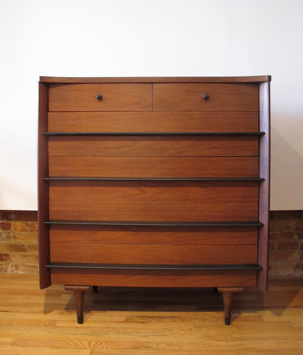 MID CENTURY WALNUT TALL DRESSER BY AMERICAN OF MARTINSVILLE