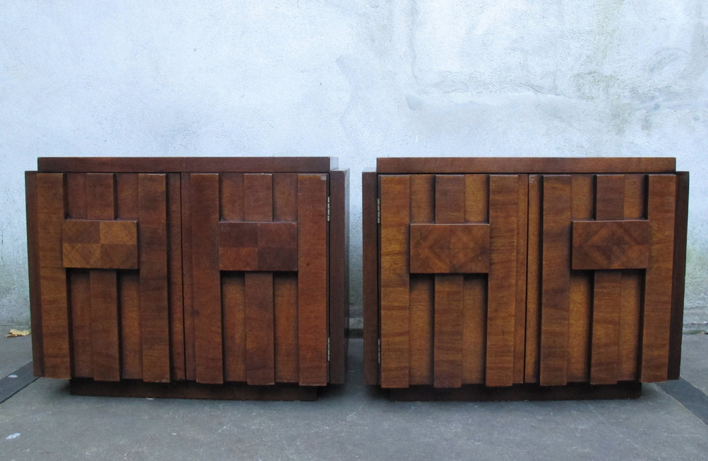 PAIR OF LANE BRUTALIST MID CENTURY NIGHTSTANDS