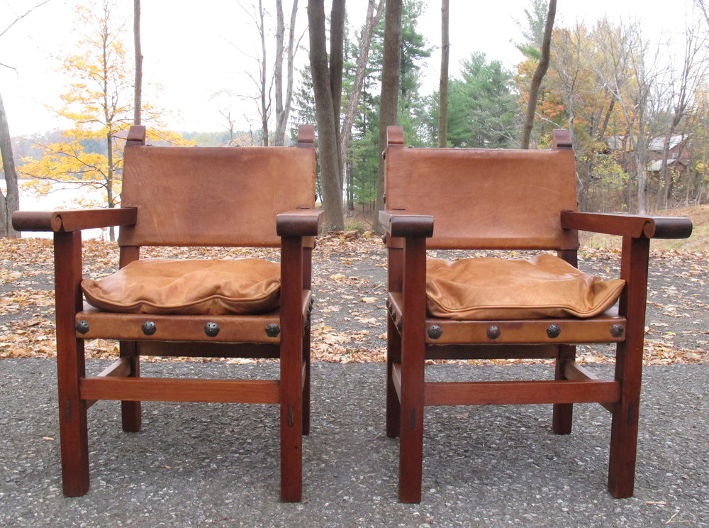 PAIR MID CENTURY BORGE MOGENSEN STYLE SPANISH LEATHER ARMCHAIRS