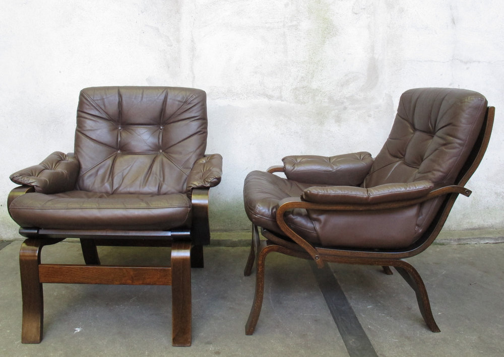 DANISH MODERN STAINED BEECH LOUNGE CHAIRS