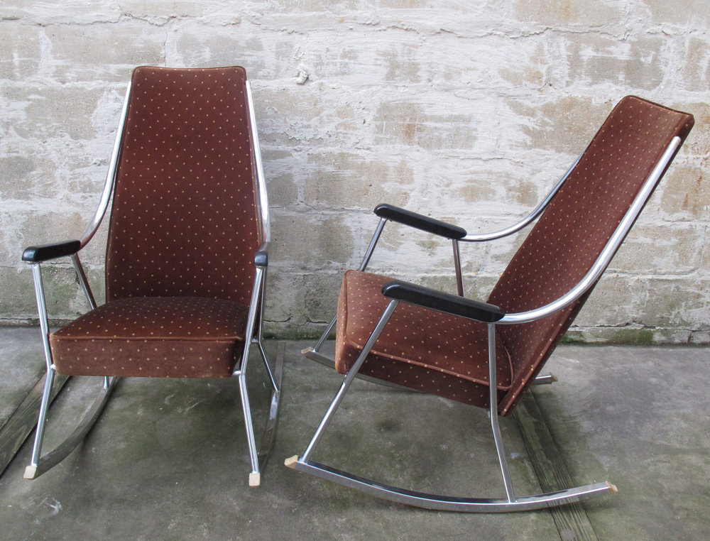 PAIR OF MID CENTURY CHROME ROCKING CHAIRS