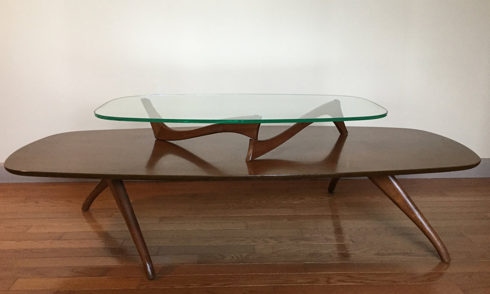 MID CENTURY KAGAN STYLE WOOD & GLASS TWO-TIER COFFEE TABLE