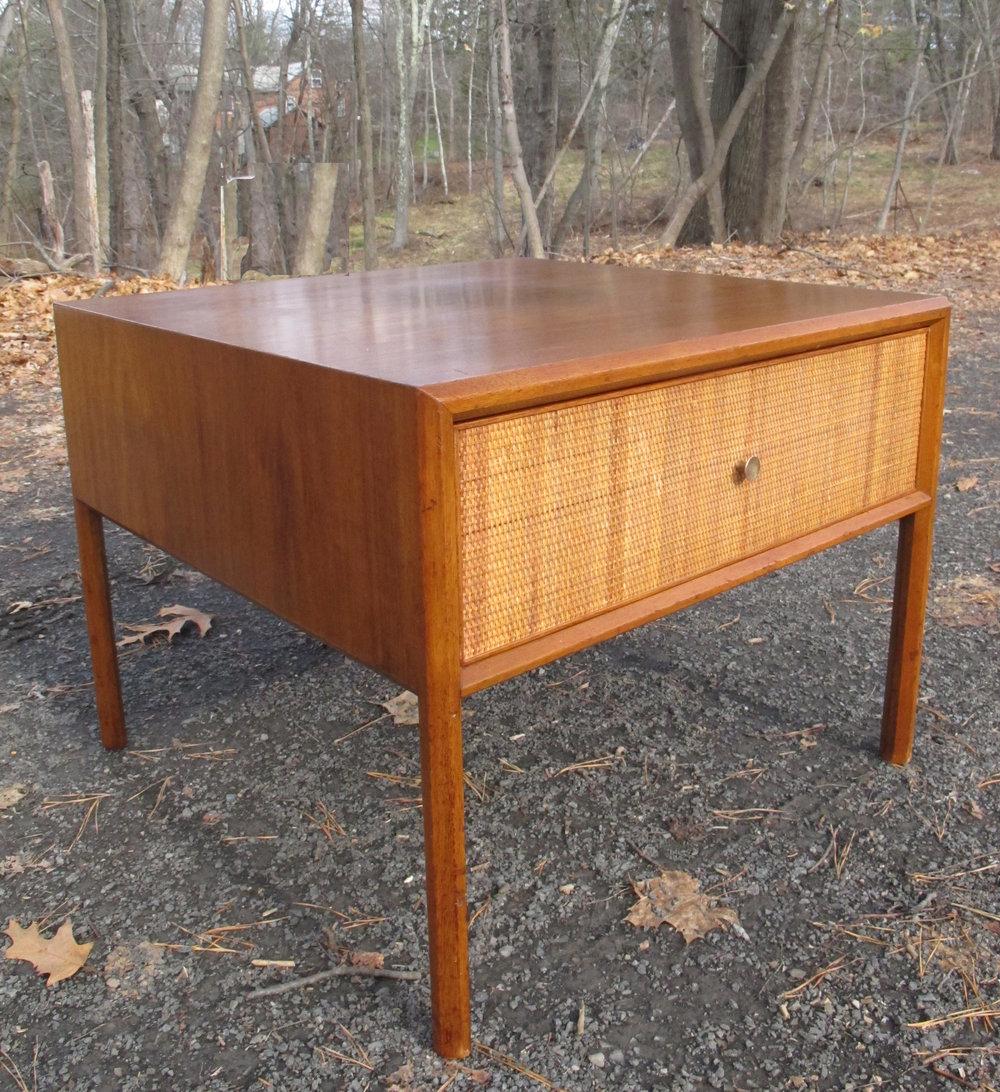 MID CENTURY WOOD & CANE SIDE TABLE AFTER PAUL MCCOBB