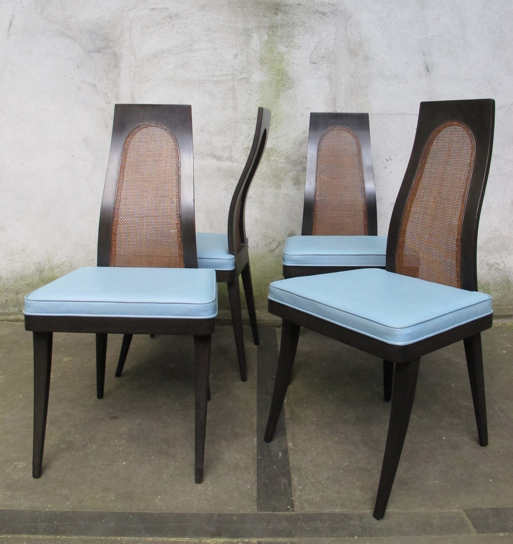 SET OF HARVEY PROBBER CANE BACK DINING CHAIRS