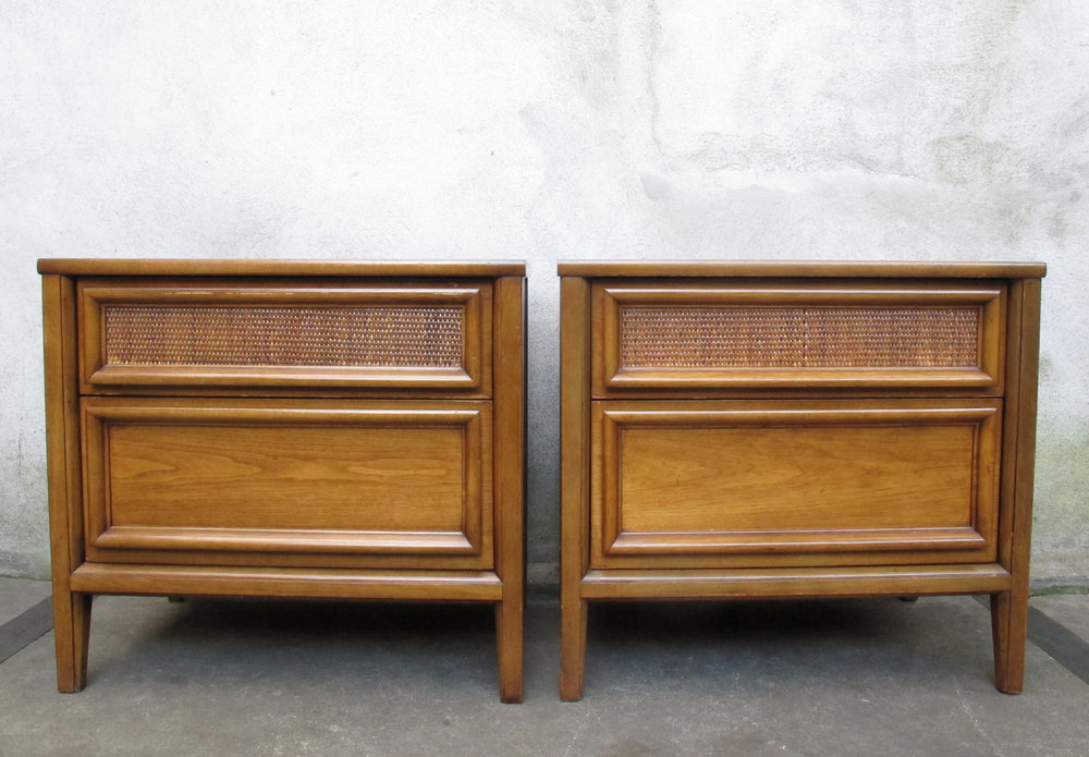 PAIR MID CENTURY MODERN WOOD & RATTAN NIGHTSTANDS