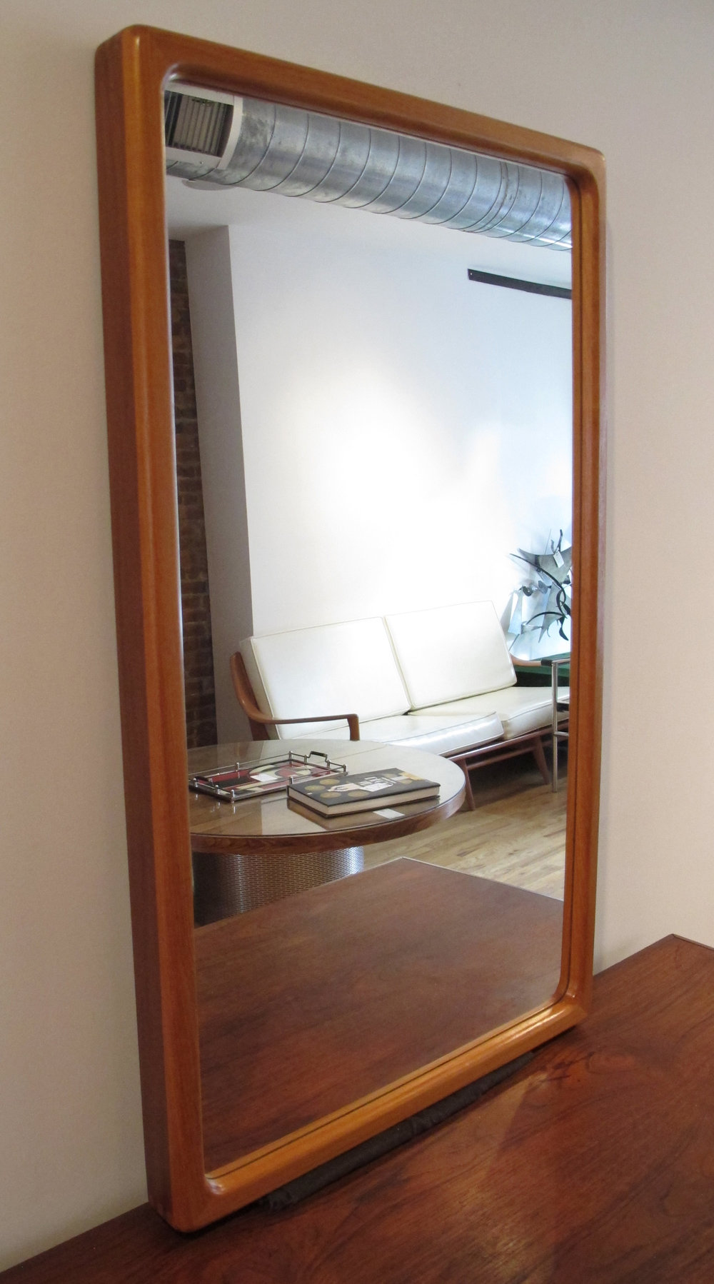 DANISH MODERN TWO-TONE TEAK MIRROR
