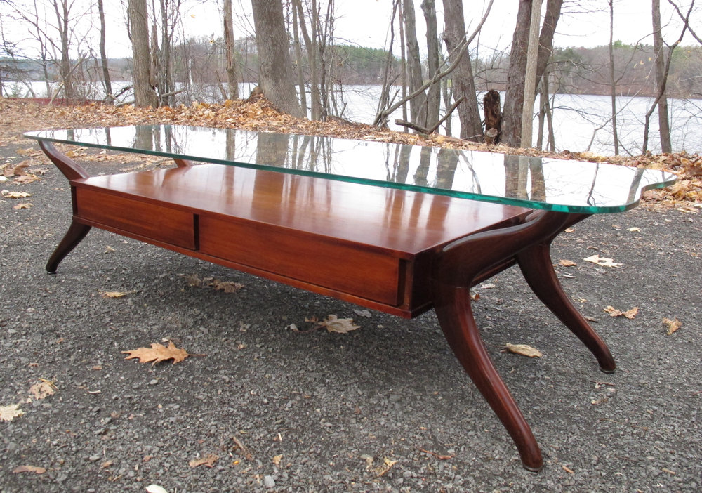 MID CENTURY KAGAN STYLE SCULPTED WOOD & GLASS COFFEE TABLE