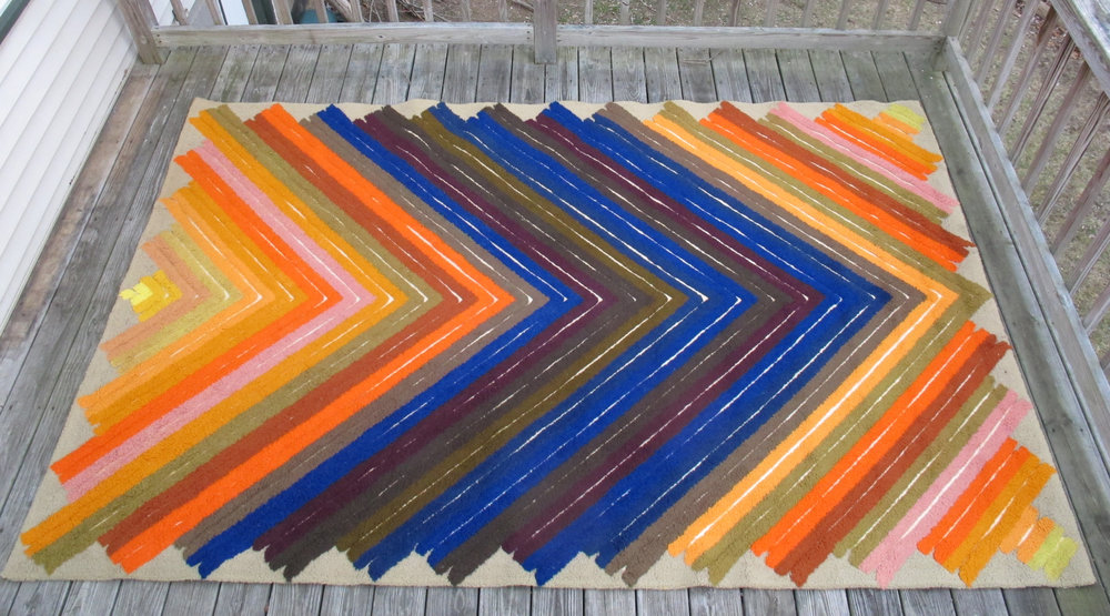 MID CENTURY BILL HINZ CHEVRON PATTERN RUG FOR BLOOMINGDALES BY REGAL RUGS