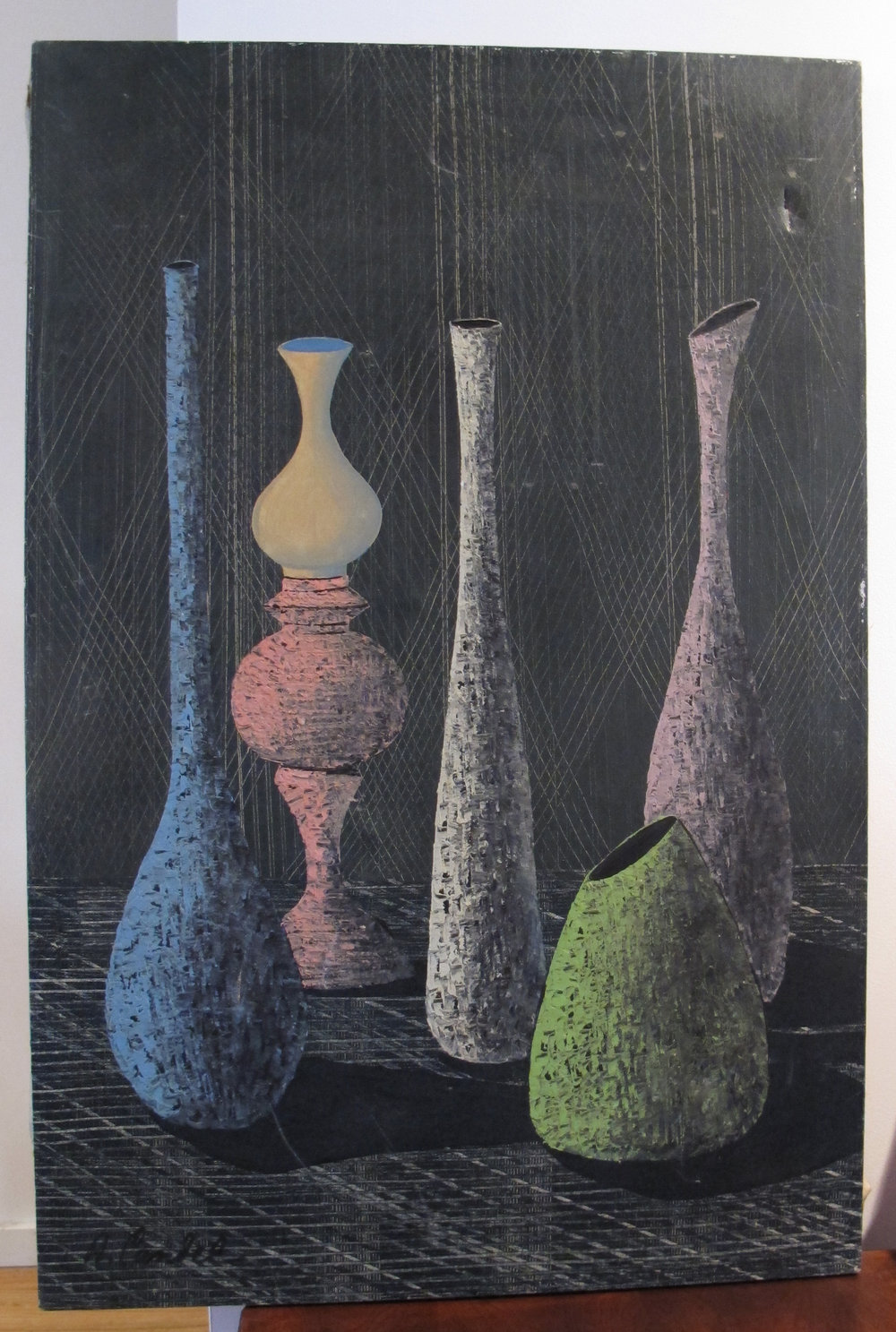 MID CENTURY STILL LIFE WITH VASES BY A. CANEL, C.1960