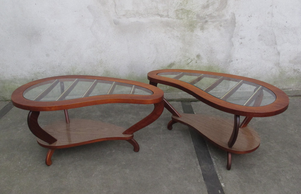 MID CENTURY TWO-TIER KIDNEY SHAPED SIDE TABLES