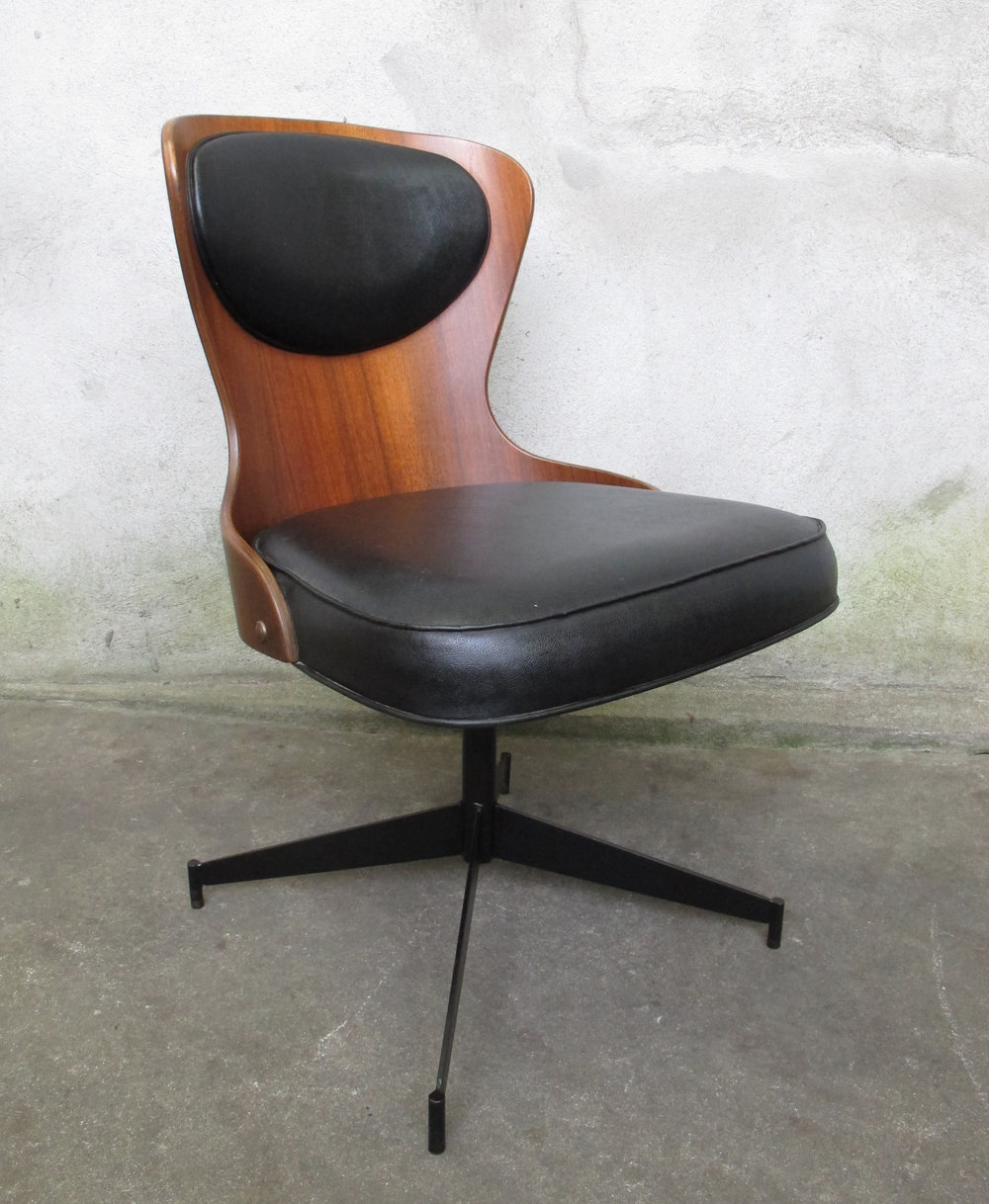 MID CENTURY SWIVEL DESK CHAIR BY PLYCRAFT