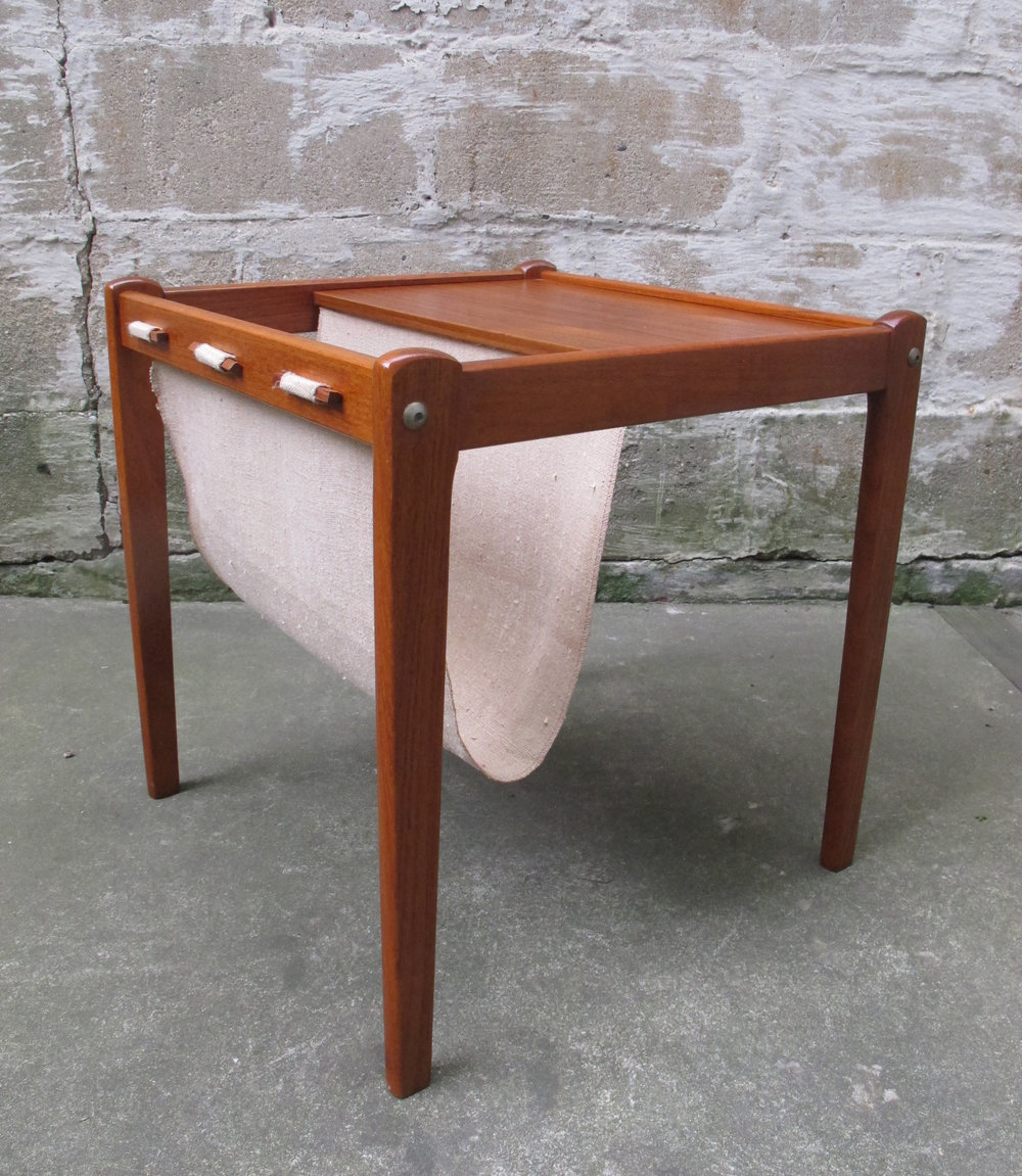 DANISH MODERN TEAK MAGAZINE RACK END TABLE BY BRDR FURBO