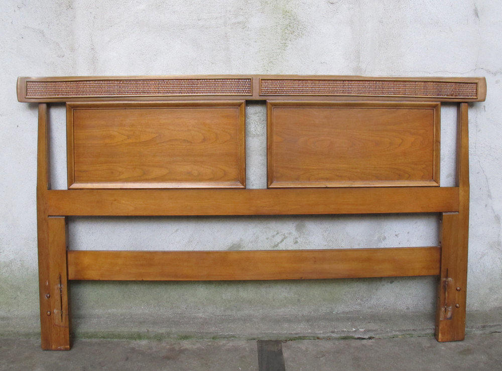 MID CENTURY FULL SIZE WOOD & RATTAN HEADBOARD