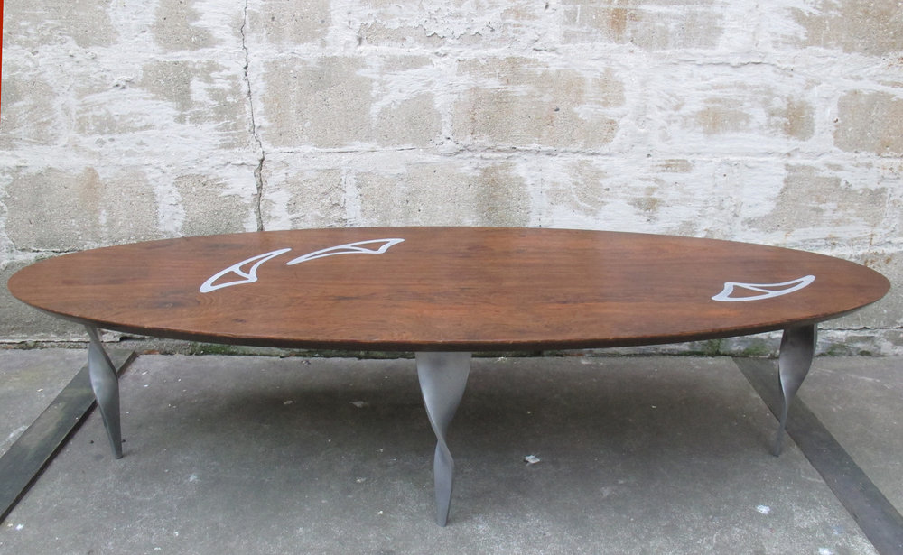 MID CENTURY ROSEWOOD & ALUMINUM SURFBOARD COFFEE TABLE
