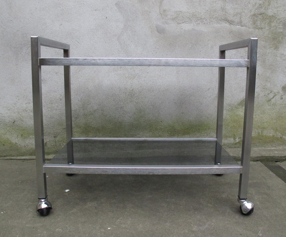 MID CENTURY ALUMINUM & SMOKED GLASS ROLLING BAR CART BY GUSDORF