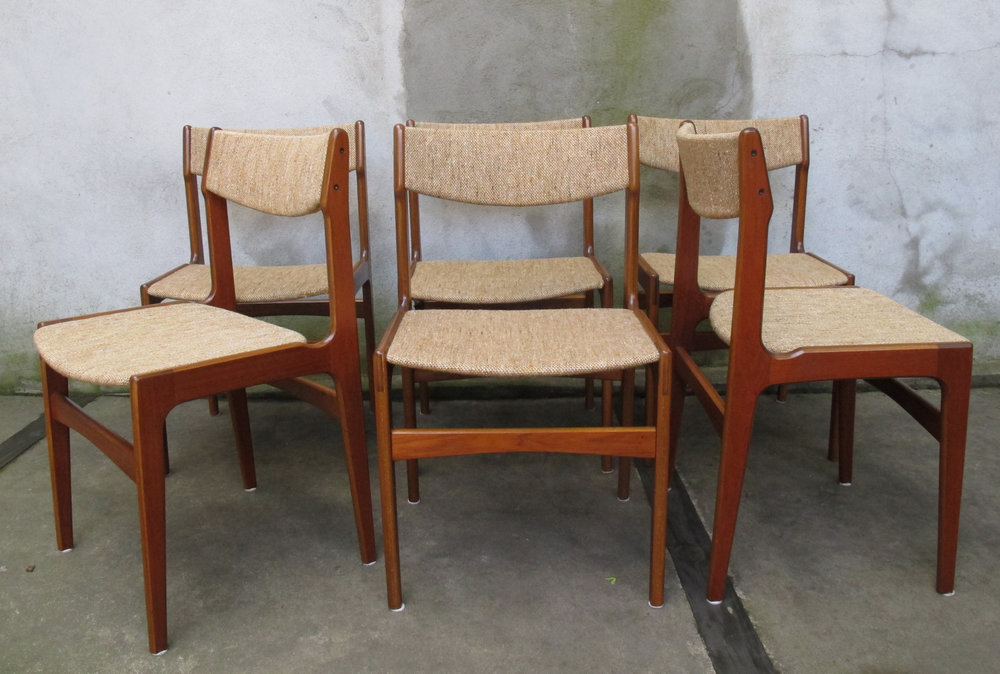 SET OF DANISH MODERN UPHOLSTERED TEAK DINING CHAIRS