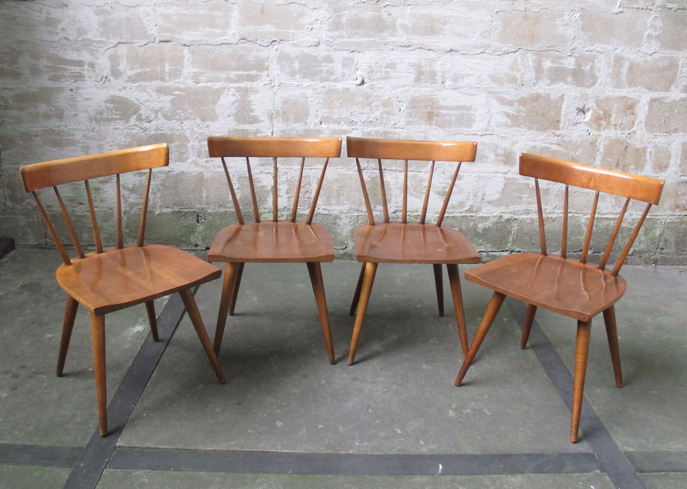 SET OF FOUR PAUL MCCOBB PLANNER GROUP MAPLE DINING CHAIRS