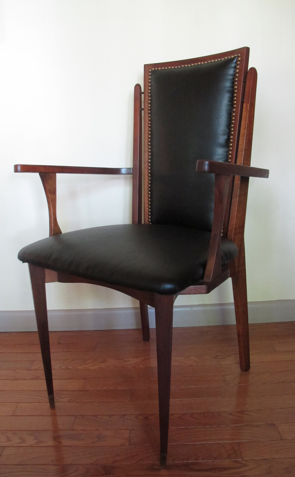 MID CENTURY MODERN WALNUT HIGH BACK ARMCHAIR