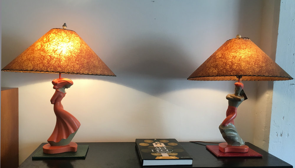 PAIR OF FAIP 1950S CHALKWARE LAMPS