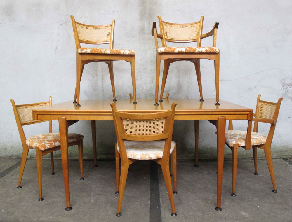 MID CENTURY BIRCH DINING SET BY EDMOND SPENCE