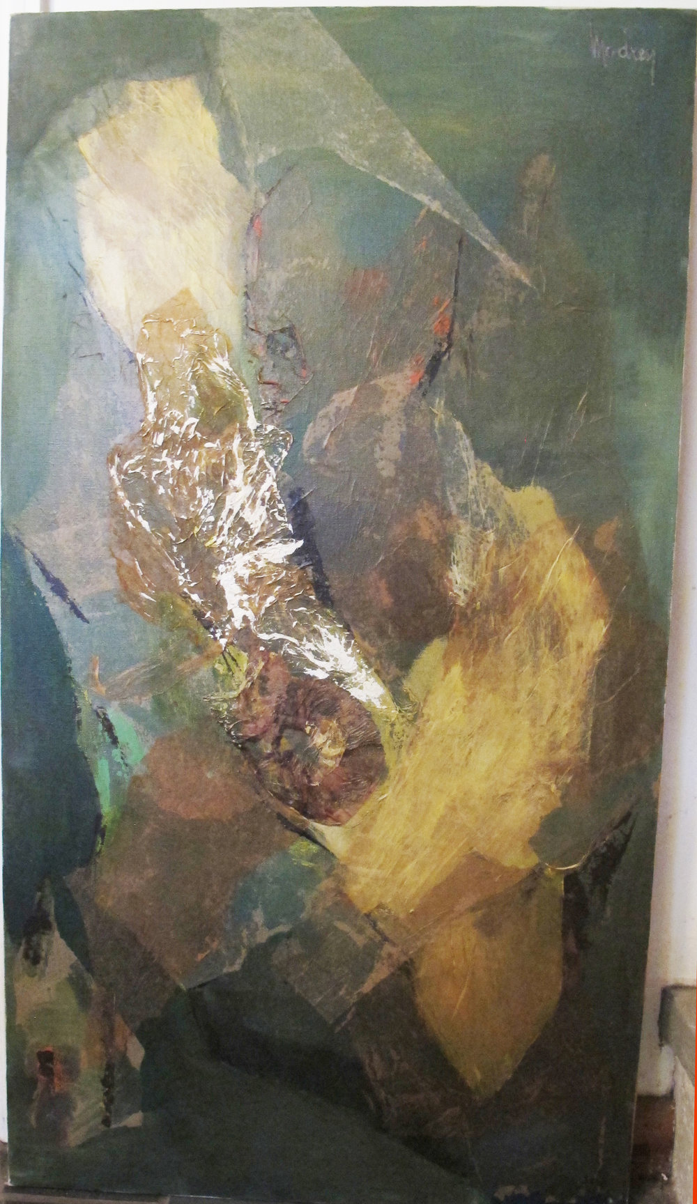 MID CENTURY ABSTRACT OIL ON CANVAS BY E. MODREY
