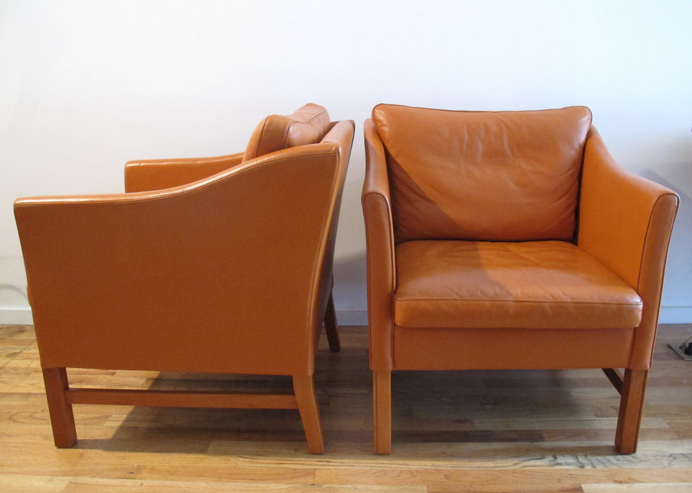 PAIR OF DANISH OBERST LEATHER EASY CHAIRS BY TAKASHI OKAMURA AND ERIK MARQUARDSEN