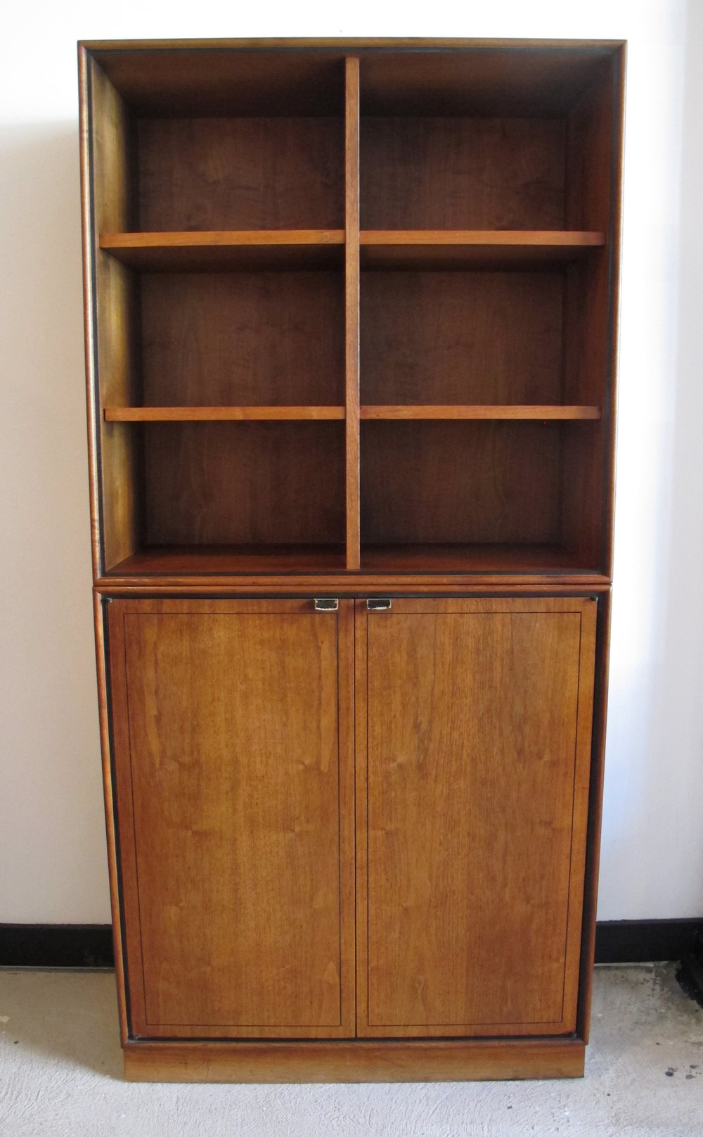 DANISH MODERN TWO-TIER WALNUT BOOKCASE AND CABINET