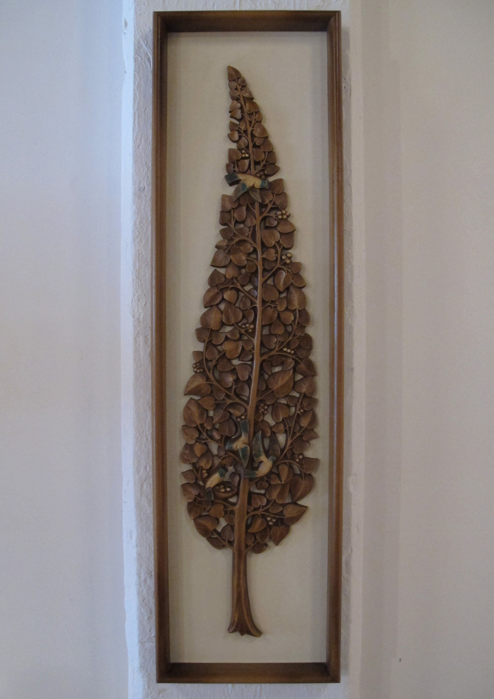 MID CENTURY WITCO STYLE FRAMED CARVED WOOD ART