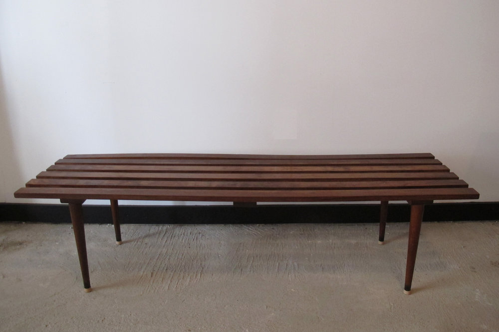 MID CENTURY FIVE-FOOT SLAT BENCH