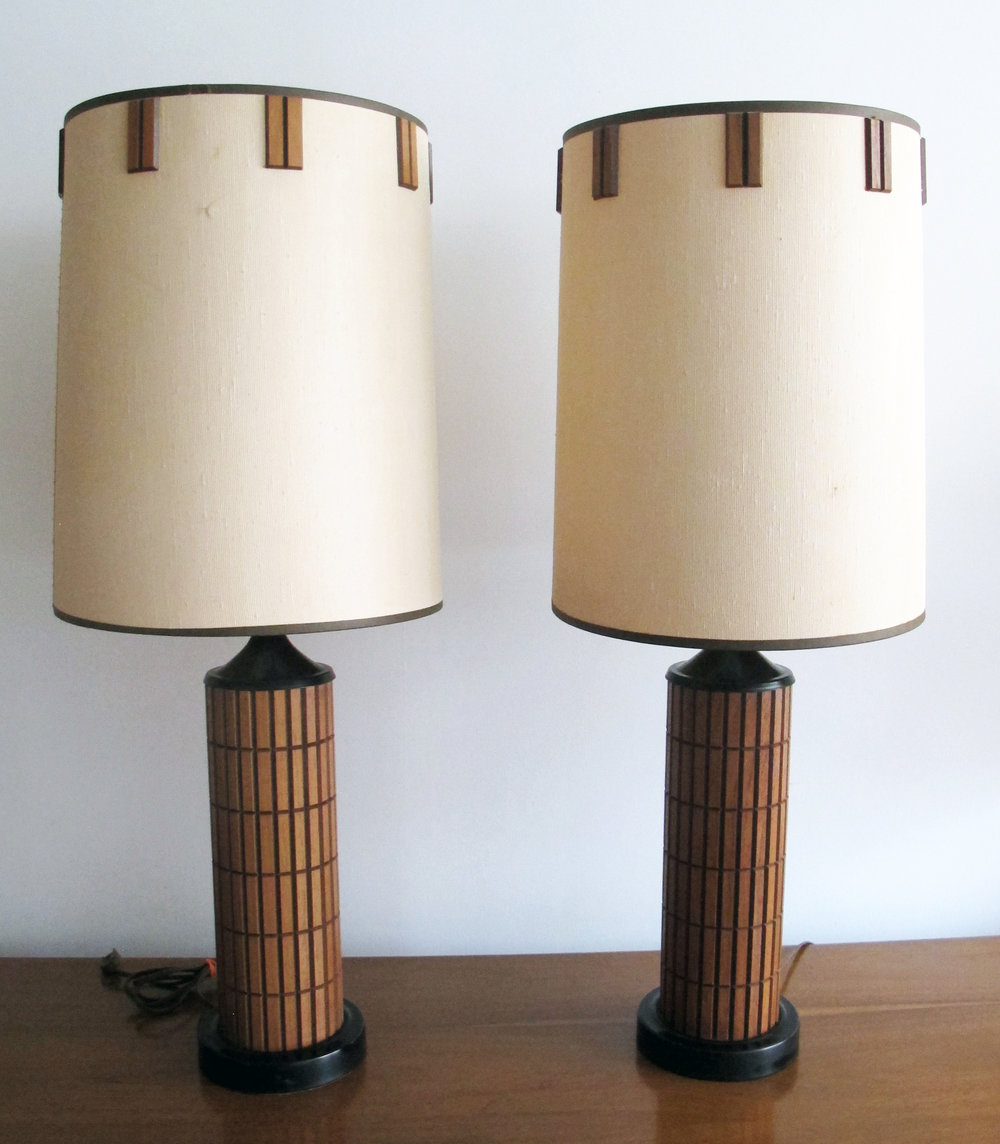 MID CENTURY MODERN WALNUT WOOD LAMPS
