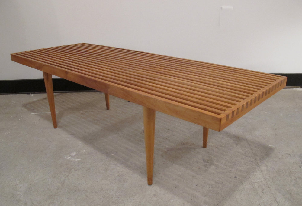 MID CENTURY SLAT BENCH COFFEE TABLE BY MEL SMILOW