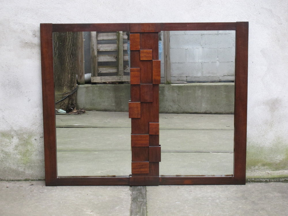 MID CENTURY BRUTALIST WALNUT DOUBLE MIRROR BY LANE