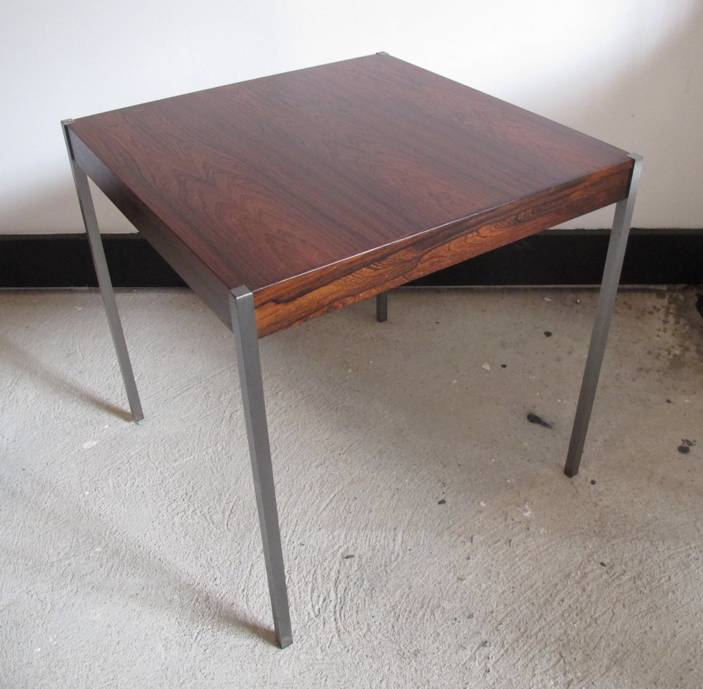 DANISH MODERN ROSEWOOD & CHROME SQUARE SIDE TABLE