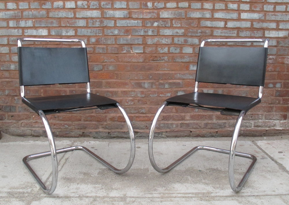 "PAIR OF MIES VAN DER ROHE ""MR"" SIDE CHAIRS BY PALAZZETTI"