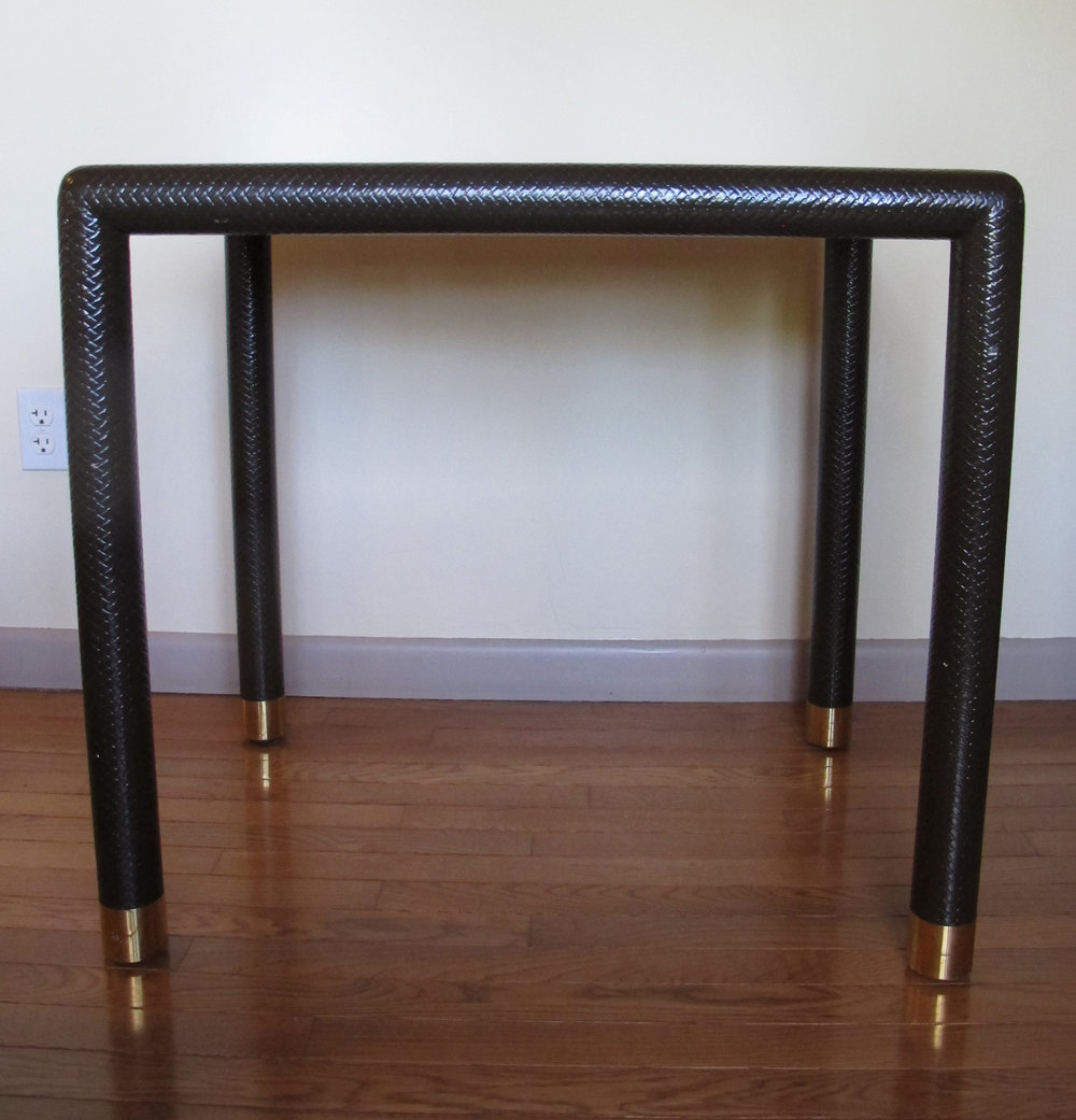 MID CENTURY LACQUERED WOOD & BRASS CONSOLE TABLE BY KARL SPRINGER