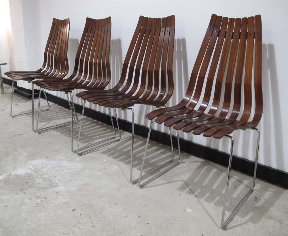 SET OF HANS BRATTRUD ROSEWOOD SCANDIA CHAIRS BY HOVE MOBLER
