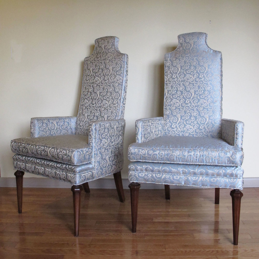PAIR HOLLYWOOD REGENCY HIGH BACK ARM CHAIRS