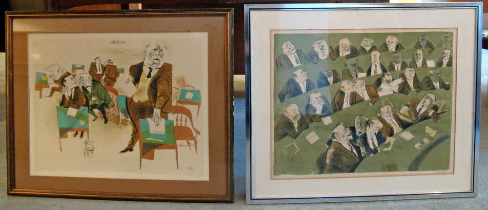 PAIR OF WILLIAM GROPPER POLITICAL FRAMED LITHOGRAPHS