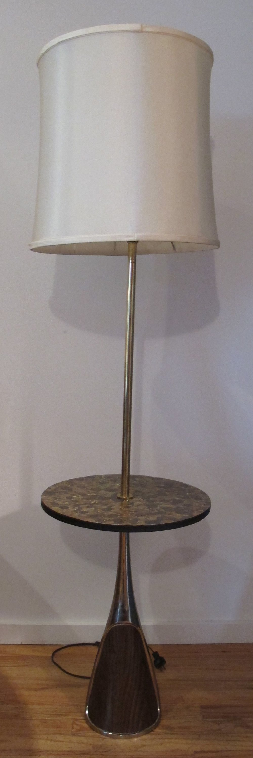 MID CENTURY WALNUT AND BRASS FLOOR LAMP WITH FLOATING TABLE BY LAUREL