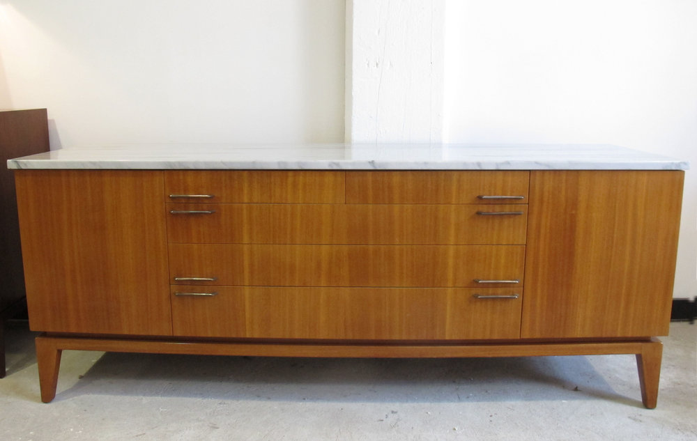 MID CENTURY MARBLE TOP CREDENZA BY JOSEPH ARONSON
