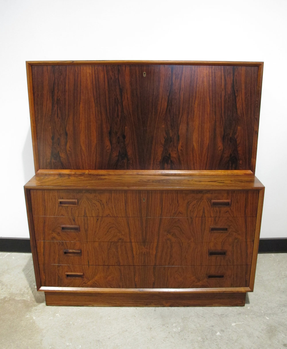 DANISH MODERN ROSEWOOD CHEST OF DRAWERS WITH DROP-DOWN DESK