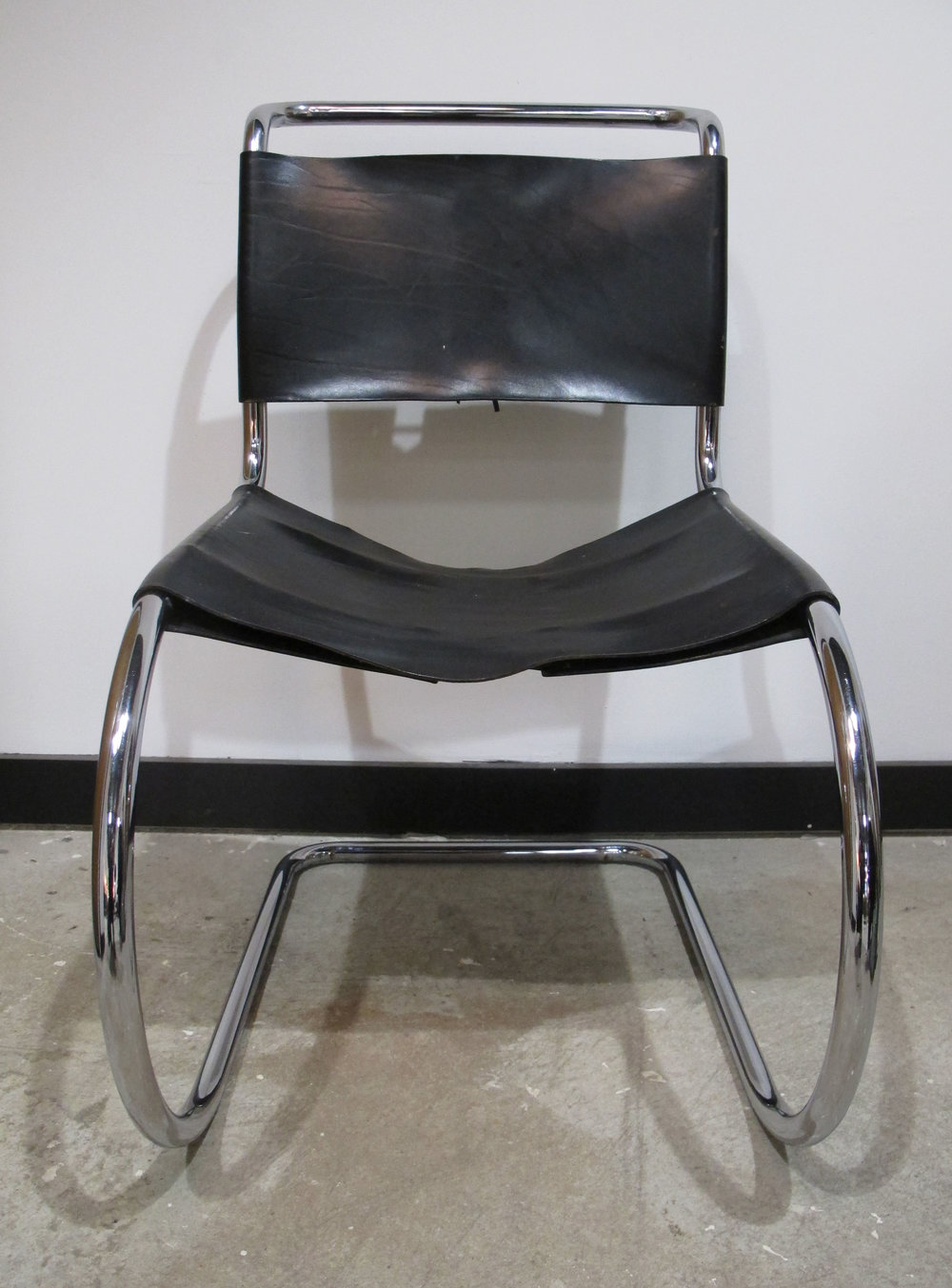 MIES VAN DER ROHE BLACK LEATHER MR SIDE CHAIR