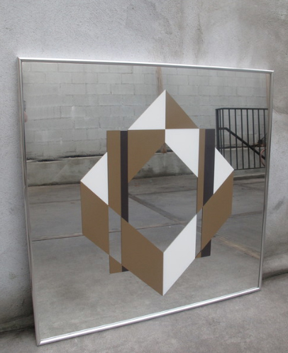 MID CENTURY FRAMED OP-ART MIRROR